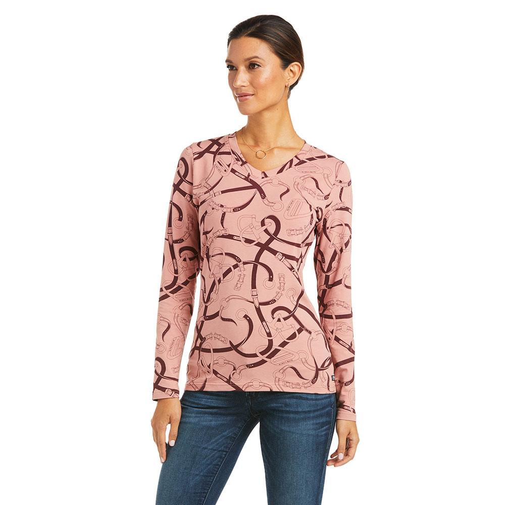 Ariat Women's Bridle Print V-Neck Long Sleeve T-Shirt