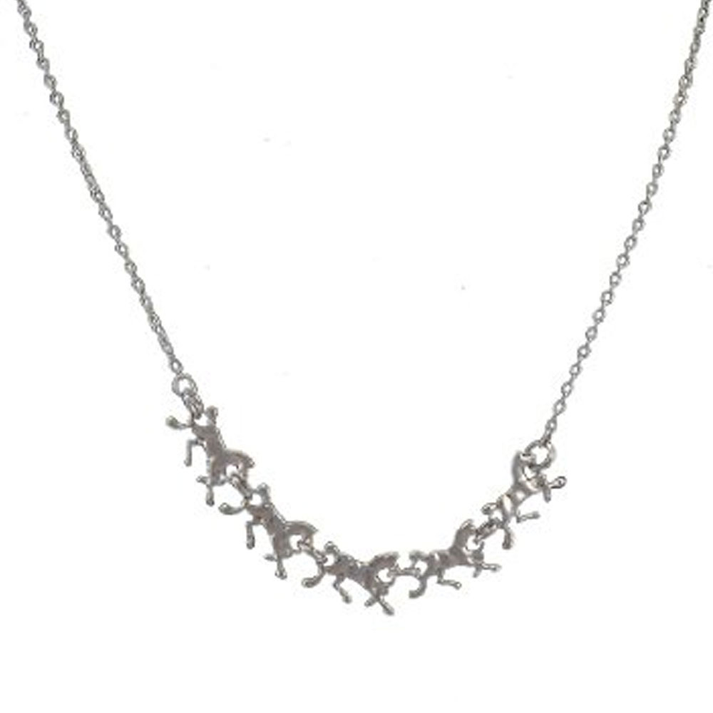 5 Running Horses Necklace