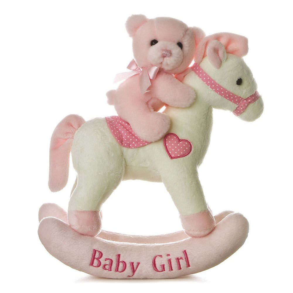 "Aurora ""Baby Girl"" Stuffed Rocking Horse"