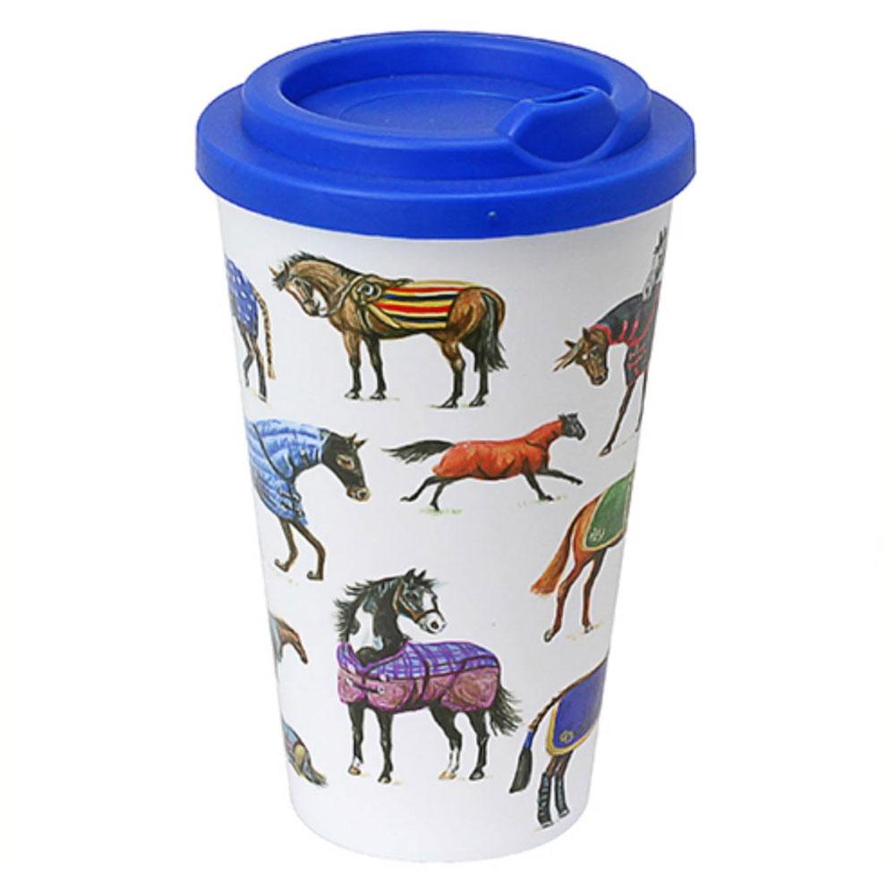 """Cafe Mug """"Horses in Rugs"""" Travel Mug"""