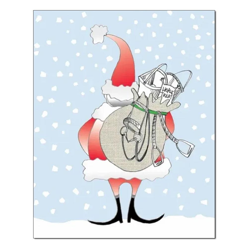 """Horse Hollow Press """"Santa Bag"""" Box of 8 Holiday Cards"""