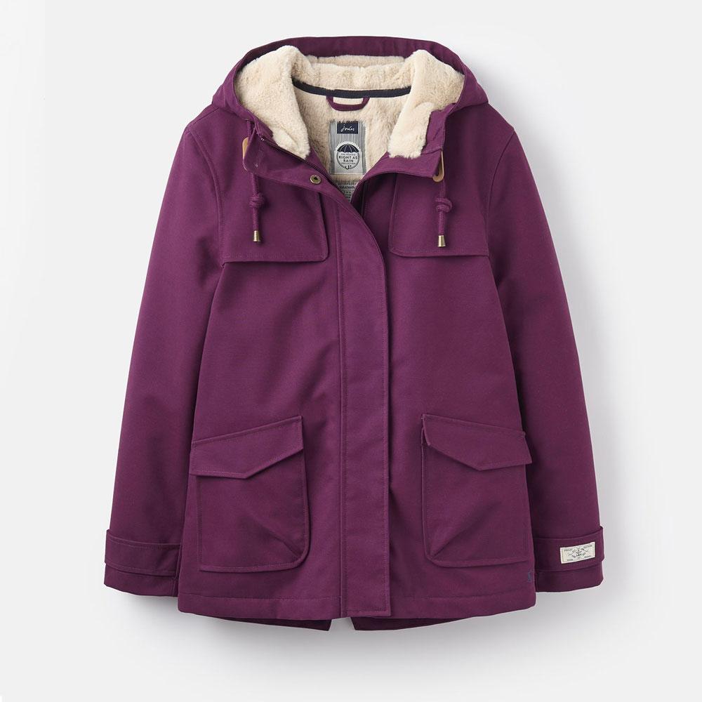 Joules Ladies' Coast Cosy Sherpa Fleece-Lined Waterproof Coat