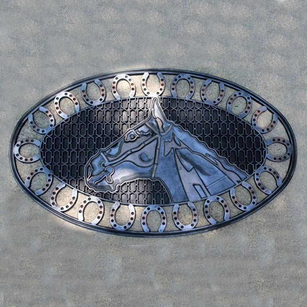 Oval Horse Head Rubber Mat