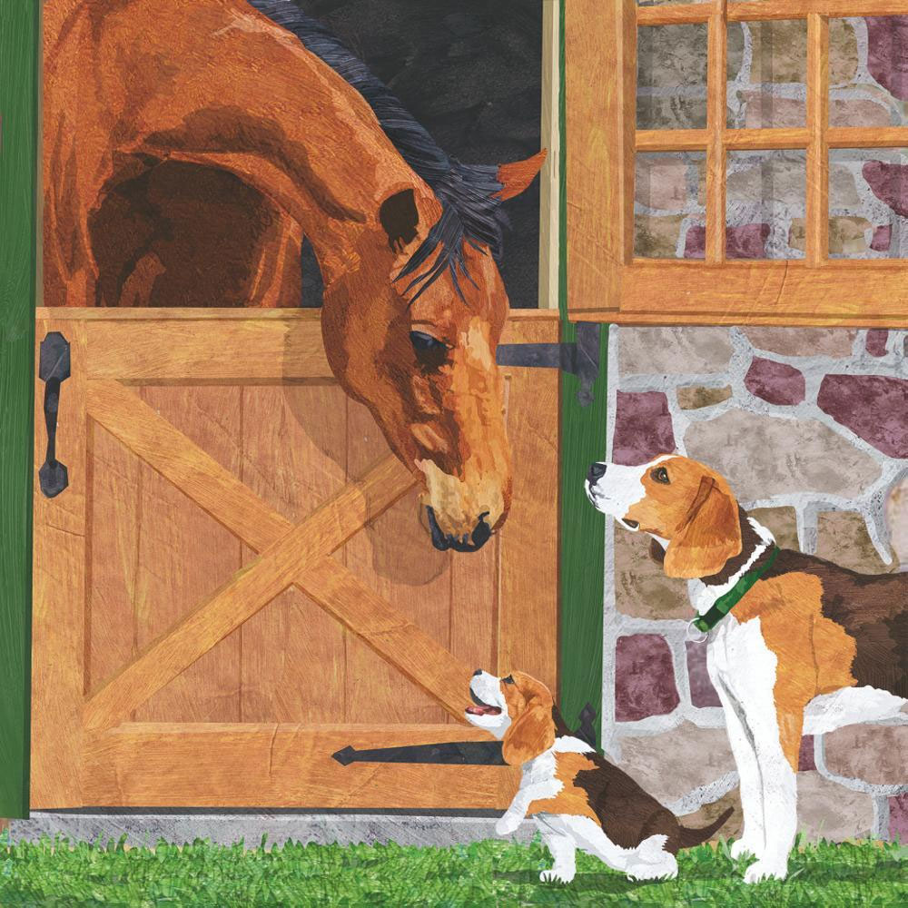 """Paperproducts Design """"Horse & Hounds"""" Beverage Napkins"""