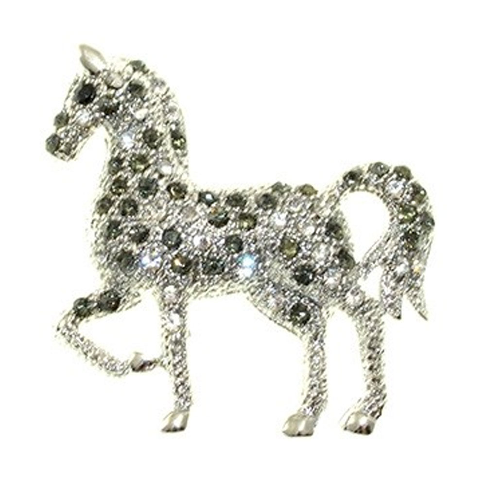 Rhinestone Horse Brooch Pin