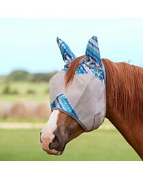 Crusader Blue Zig Standard Fly Mask with Ears