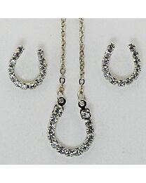 Earring & Necklace Gift Set - Crystal Horseshoe