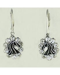 Earring - Outline Horse Head with Crystal Stones
