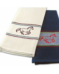 """""""Embroidered Horse"""" Waffle Weave Kitchen Towel"""