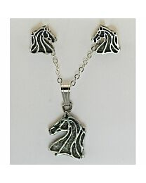 Earring & Necklace Gift Set - Horse Head Outlines