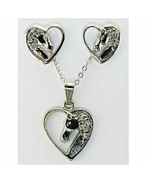 Earring & Necklace Gift Set - Horse Head in Heart