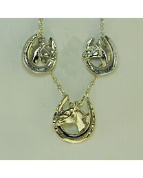 Earring & Necklace Gift Set - Horse Head in Horseshoe
