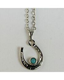 Necklace - Horseshoe with Turquoise Stone