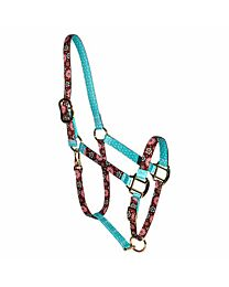 """Red Haute Horse """"Teal Flowers"""" High Fashion Halter"""