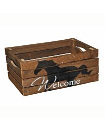 """""""Welcome"""" Small Wood Apple Crate"""